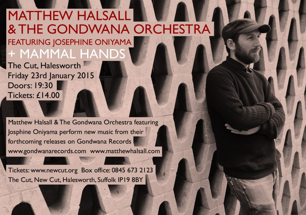 Matthew Halsall & The Gondwana Orchestra + Mammal Hands - The Cut - Halesworth E-Flyer 2015